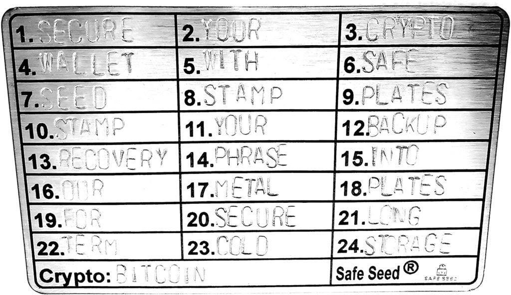 24 מילות המפתח של ארנק הקריפטו ב-SeedPlate